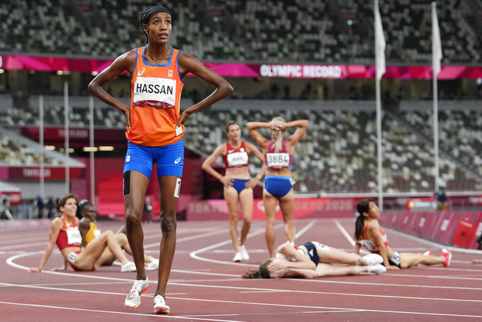 Sifan Hassan, of Netherlands, reacts after the final of the women's 1,500-meters at the 2020 Summer Olympics, Friday, Aug. 6, 2021, in Tokyo. (AP Photo/Petr David Josek)
