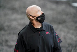 Atlanta Falcons head coach Dan Quinn walks the turf before the first half of an NFL football game between the Atlanta Falcons and the Chicago Bears, Sunday, Sept. 27, 2020, in Atlanta. (AP Photo/Brynn Anderson)