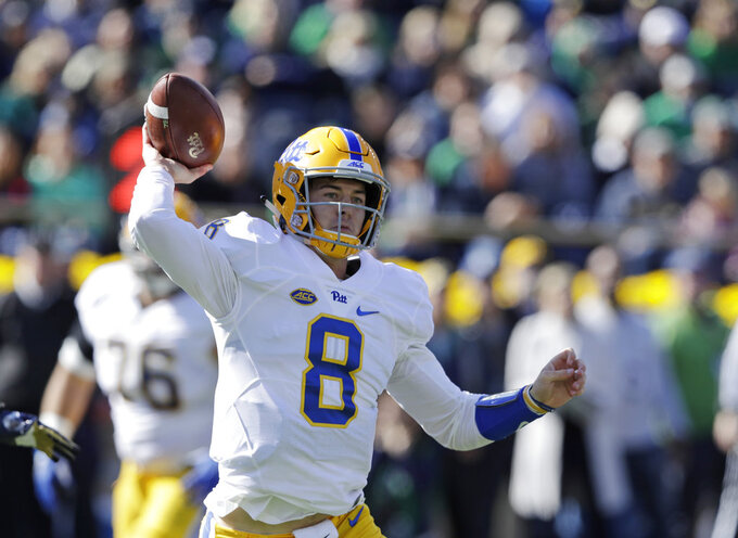 Pittsburgh quarterback Kenny Pickett throws during the first half of an NCAA college football game against Notre Dame, Saturday, Oct. 13, 2018, in South Bend, Ind. (AP Photo/Darron Cummings)