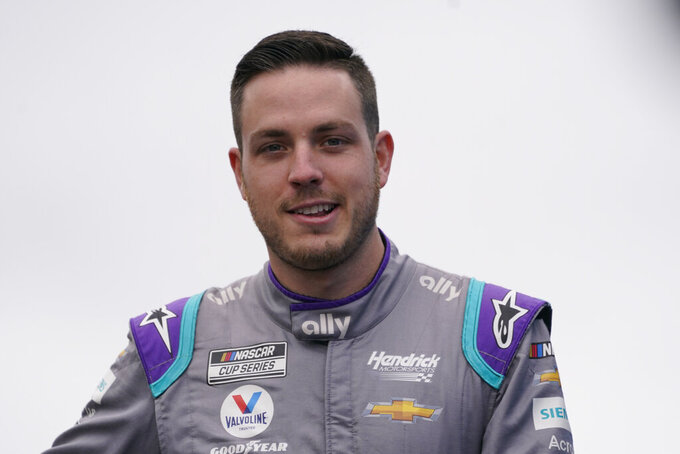 Alex Bowman at a NASCAR Cup Series auto race, Sunday, July 18, 2021, in Loudon, N.H. (AP Photo/Charles Krupa)