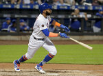 New York Mets' Amed Rosario watches his RBI double against the Toronto Blue Jays during the fourth inning of a baseball game Tuesday, May 15, 2018, in New York. (AP Photo/Julie Jacobson)