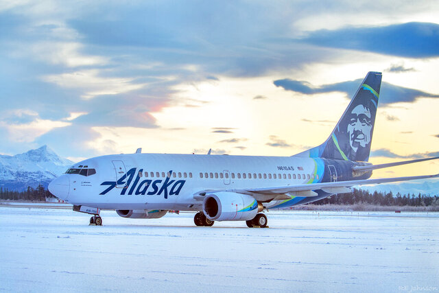 This early Sunday, Nov. 15, 2020, photo provided by R E Johnson shows an Alaska Airlines jet that struck a brown bear while landing in the early evening the day before, killing the animal and causing damage to the plane, at Yakutat Airport in Yakutat, Alaska. The left engine cowling of the jet was damaged. The Anchorage Daily News reports none of the passengers or crew members onboard the plane were injured. (R E Johnson via AP)