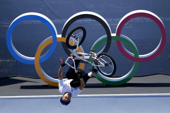 Rim Nakamura of Japan in the men's BMX freestyle final at the 2020 Summer Olympics, Sunday, Aug. 1, 2021, in Tokyo, Japan. (AP Photo/Ben Curtis)