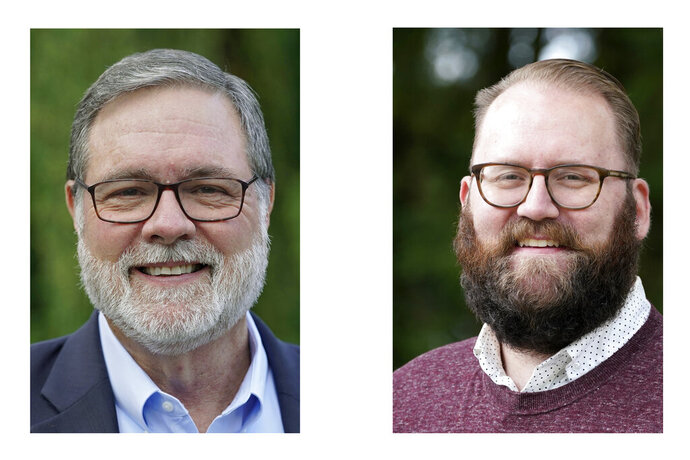 U.S. Rep. Denny Heck, D-Wash., left, and Washington Sen. Marko Liias, D-Lynnwood, right, are shown in this combination of photos taken Oct. 7, 2020 in Olympia, Wash., and Oct. 19, 2020 in Lynnwood, Wash.  (AP Photos/Ted S. Warren and Elaine Thompson)