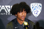 Oregon State defensive back Jaydon Grant fields questions during the Pac-12 Conference NCAA college football Media Day Tuesday, July 27, 2021, in Los Angeles. (AP Photo/Marcio Jose Sanchez)