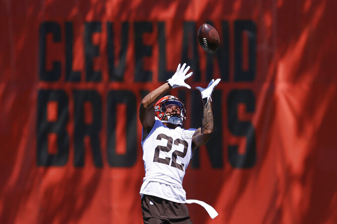 Cleveland Browns safety Grant Delpit runs through a drill during practice at the NFL football team's training facility Thursday, Aug. 20, 2020, in Berea, Ohio. (AP Photo/Ron Schwane)