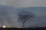 Fire consumes a field alongside the BR 163 highway in Nova Santa Helena municipality, Mato Grosso State, Brazil, Friday, Aug. 23, 2019. Under increasing international pressure to contain fires sweeping parts of the Amazon, Brazilian President Jair Bolsonaro on Friday authorized use of the military to battle the massive blazes. (AP Photo/Leo Correa)