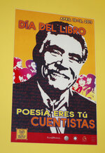 FILE - In this Jan. 30, 2012, file photo, a poster of novelist Rudolfo Anaya announcing an April, 2011 Latino book event hangs in the National Hispanic Cultural Center in Albuquerque, N.M. Anaya, 82, who helped launch the 1970s Chicano Literature Movement with his novel
