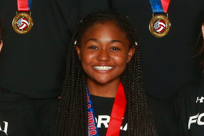 This April 28, 2019, image provided by USA Volleyball shows Amya Small at the USA Volleyball Girls 18s Junior National Championship at the Indiana Convention Center in Indianapolis. Small contemplated suicide in 2019 while a member of Oregon State's volleyball team, taking handfuls of over-the-counter medication before calling 911 seeking help. She had her scholarship pulled shortly after that incident and is planning on attending Florida A&M on scholarship this fall. (Texas Star/USAV via AP)