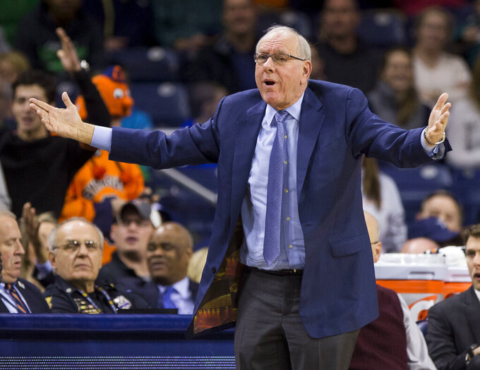 Syracuse head coach Jim Boeheim yells to players during the second half of an NCAA college basketball game against Notre Dame, Saturday, Jan. 5, 2019, in South Bend, Ind. Syracuse won 72-62. (AP Photo/Robert Franklin)