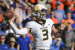 Missouri quarterback Drew Lock (3) throws a pass during the first half of an NCAA college football game against Florida Saturday, Nov. 3, 2018, in Gainesville, Fla. (AP Photo/Phelan M. Ebenhack)