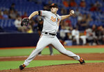 Baltimore Orioles pitcher John Means delivers to the Tampa Bay Rays during the 11th inning of a baseball game Thursday, April 18, 2019, in St. Petersburg, Fla. The Orioles won 6-5. (AP Photo/Chris O'Meara)