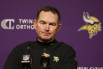 FILE - In this Jan. 11, 2020, file photo, Minnesota Vikings coach Mike Zimmer speaks at a news conference after the Vikings lost to the San Francisco 49ers in an NFL divisional playoff football game in Santa Clara, Calif. The  Vikings built a dominant defense under Zimmer on the strength of their first and second-day draft picks, but the time has come to restock after the departure of five starters this offseason. (AP Photo/Marcio Jose Sanchez, File)