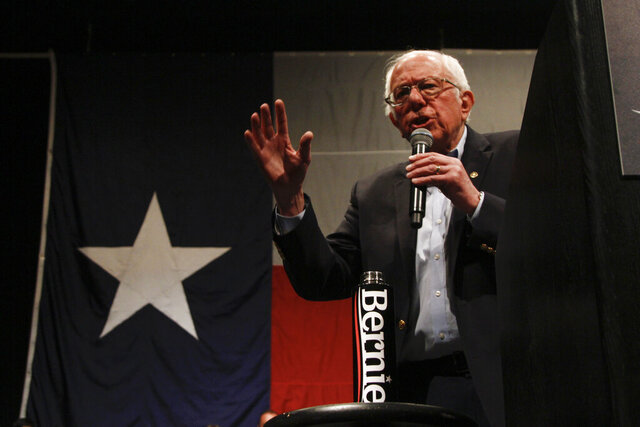 Democratic presidential candidate Sen. Bernie Sanders I-Vt. speaks at a campaign event in El Paso, Texas, Saturday, Feb. 22, 2020. Sanders urged his supporters to vote in the primary, which is already underway. Democratic primary voting in Texas ends March 3, along with other states who, all together, will decide one third of the delegates in the contest. (AP Photo/Cedar Attanasio)