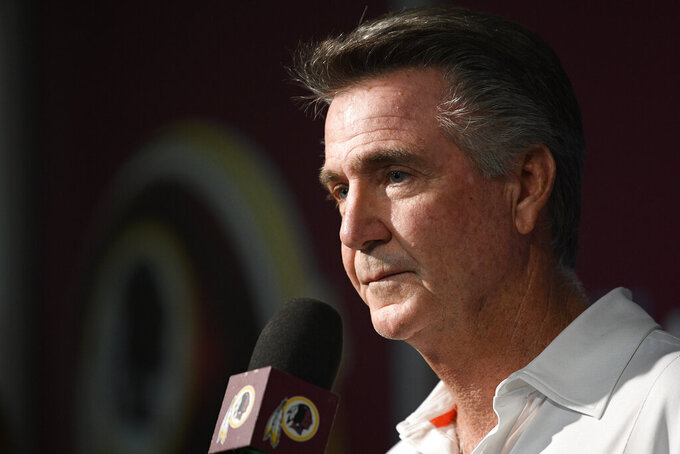Washington Redskins president Bruce Allen listens to a question from the media at an NFL football news conference, Monday, Oct. 7, 2019, in Ashburn, Va.  Jay Gruden was fired as head coach of the Washington Redskins on Monday after an 0-5 start to the sixth season of a tenure that featured only one playoff appearance. Owner Daniel Snyder and team president Bruce Allen informed Gruden he was out early Monday morning, a day after a 33-7 loss to the New England Patriots.(AP Photo/Nick Wass)