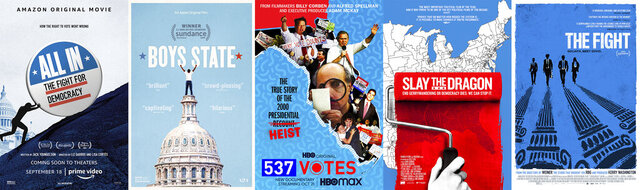 This combination photo shows poster art for political documentaries, from left,