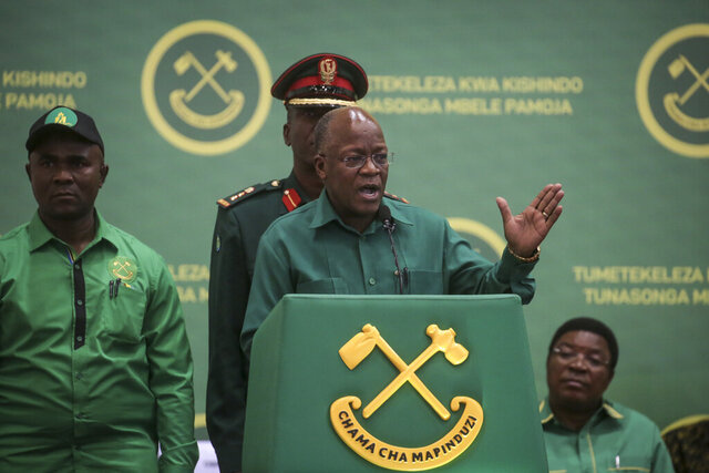 President John Magufuli speaks at the national congress of his ruling Chama cha Mapinduzi (CCM) party in Dodoma, Tanzania Saturday, July 11, 2020. Tanzania's ruling party on Saturday nominated President John Magufuli to run for a second five-year term, while opposition parties and human rights groups demand an independent electoral body to oversee the October vote. (AP Photo)