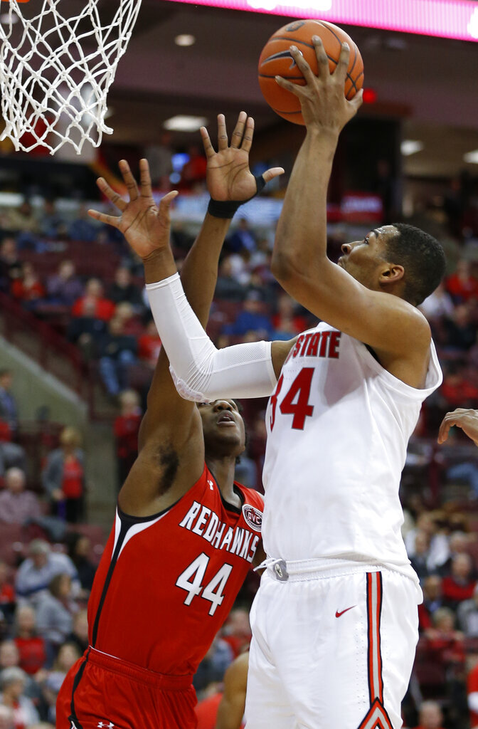 Ohio State's Kaleb Wesson, right, shoots over Southeast Missouri State's Darrious Agnew during the second half of an NCAA college basketball game Tuesday, Dec. 17, 2019, in Columbus, Ohio. Ohio State defeated Southeast Missouri State 80-48. (AP Photo/Jay LaPrete)
