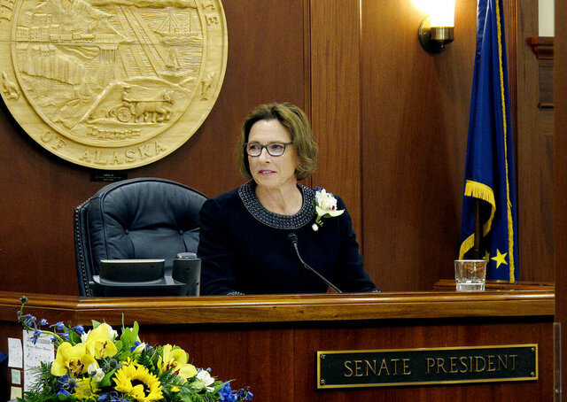 FILE - In this Jan. 15, 2019, file photo, Anchorage Republican state Sen. Cathy Giessel is shown after being elected Alaska Senate president in Juneau, Alaska. During her first year as Alaska Senate president, Giessel won over one-time political adversaries and angered some within her own party for her willingness to buck Gov. Mike Dunleavy, a fellow Republican, on key pieces of his agenda. (AP Photo/Becky Bohrer, File)