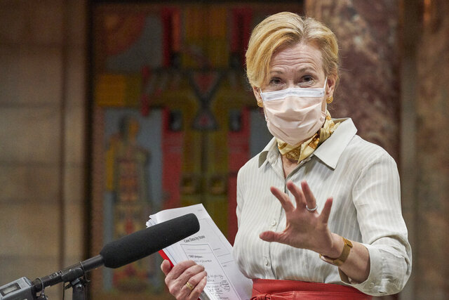 White House Coronavirus Response Coordinator Dr. Deborah Birx speaks to reporters in the rotunda of the State Capitol in Lincoln, Neb., Friday, Aug. 14, 2020, after meeting with Gov. Pete Ricketts and community and state health officials. (AP Photo/Nati Harnik)
