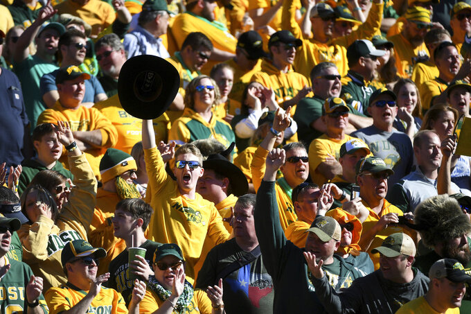 North Dakota State fans cheer during the second half of the FCS championship NCAA college football game against Eastern Washington, Saturday, Jan. 5, 2019, in Frisco, Texas. North Dakota State won 38-24. (AP Photo/Jeffrey McWhorter)
