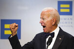 """FILE - In this Sept. 15, 2018, file photo, former Vice President Joe Biden addresses the Human Rights Campaign National Dinner in Washington, D.C.  On May 6, 2012, Vice President Joe Biden declared on """"Meet the Press"""" that he supported the legalization of same-sex marriage – getting out ahead of his boss, Barack Obama, on one of the most volatile political issues of the day. The largest national LGBTQ-rights organization, the Human Rights Campaign, will be formally endorsing Biden for president on Wednesday, the eighth anniversary of that event. (AP Photo/Cliff Owen)"""