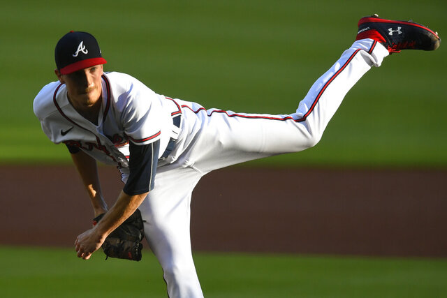 Atlanta Braves' Max Fried pitches against the Tampa Bay Rays during the first inning of a baseball game Thursday, July 30, 2020, in Atlanta. (AP Photo/John Amis)