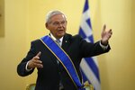 US Senator Bob Menendez, chairman of the Senate Foreign Relations Committee speaks after he was awarded with the Grand Cross of the Order of the Redeemer by Greek President Katerina Sakellaropoulou at the Presidential Palace in Athens, Friday Aug. 27, 2021.  Menendez on his two-day trip in Greece, discussed with top Greek officials the strategic relationship between Greece and the US as well as developments in the eastern Mediterranean and the Middle East. (AP Photo/Thanassis Stavrakis)