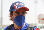 Alpine F1 team driver Fernando Alonso from Spain arrives to the Bahrain International Circuit, in Sakhir, Bahrain, Thursday, March 25, 2021. Bahrain F1 race will be March 28. (AP Photo/Kamran Jebreili)