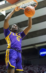 LSU forward Naz Reid (0) slams two down against Alabama during the first half of an NCAA college basketball game, Saturday, March 2, 2019, in Tuscaloosa, Ala. (AP Photo/Vasha Hunt)