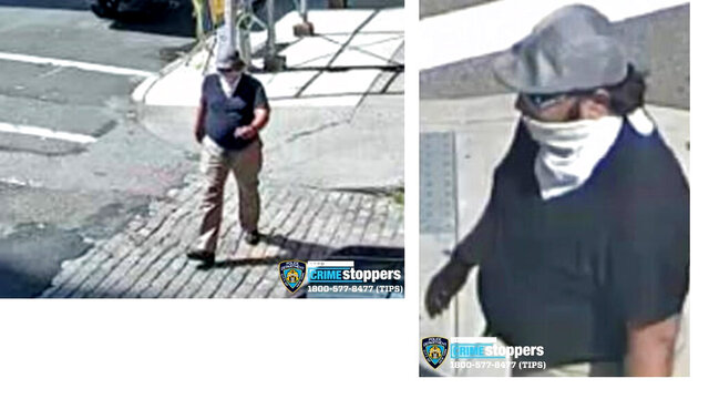 This undated combination of photos made from video provided by the New York City Police Department, shows a man New York City police are seeking in connection with anti-Black and anti-Semitic graffiti found on a Manhattan college campus. The graffiti, including a swastika and racist statements, was scrawled on the side of New York University's Silver Center For Arts & Science around 1:35 p.m. on Saturday, Sept. 12, 2020 police said. (New York Police Department via AP)