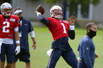 New England Patriots quarterback Cam Newton throws during an NFL football training camp practice, Tuesday, Aug. 25, 2020, in Foxborough, Mass. (AP Photo/Steven Senne, Pool)
