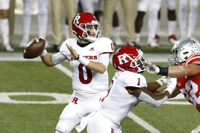 Rutgers quarterback Noah Vedral drops back top pass against Ohio State during the first half of an NCAA college football game Saturday, Nov. 7, 2020, in Columbus, Ohio. (AP Photo/Jay LaPrete)