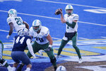 Tulane quarterback Michael Pratt (7) looks to throw a pass against Nevada during the first half of the Idaho Potato Bowl NCAA college football game, Tuesday, Dec. 22, 2020, in Boise, Idaho. (AP Photo/Steve Conner)