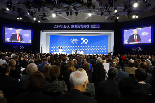 U.S. President Donald Trump addresses the World Economic Forum in Davos, Switzerland, Tuesday, Jan. 21, 2020. The 50th annual meeting of the forum will take place in Davos from Jan. 20 until Jan. 24, 2020. (AP Photo/Markus Schreiber)