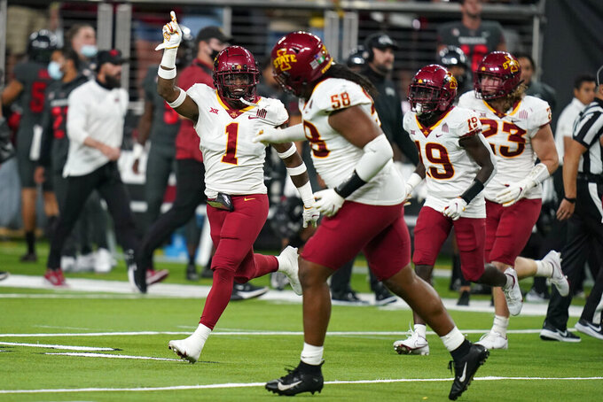 Iowa State defensive back Isheem Young (1) celebrates after recovering a fumble by UNLV during the first half of an NCAA college football game Saturday, Sept. 18, 2021, in Las Vegas. (AP Photo/John Locher)