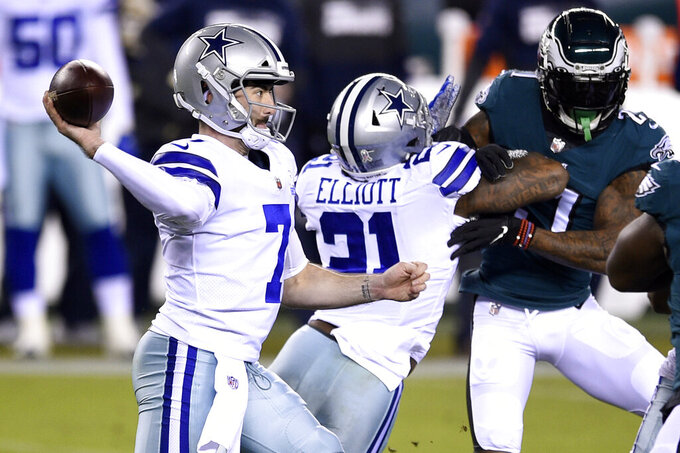 Dallas Cowboys' Ben DiNucci passes during the first half of an NFL football game against the Philadelphia Eagles, Sunday, Nov. 1, 2020, in Philadelphia. (AP Photo/Derik Hamilton)