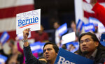 Fans cheer as Democratic presidential candidate U.S. Sen. Bernie Sanders, I-Vt., holds a rally at the Mesquite Arena, Friday, Feb. 14, 2020, in Mesquite, Texas. (Juan Figueroa/The Dallas Morning News via AP)