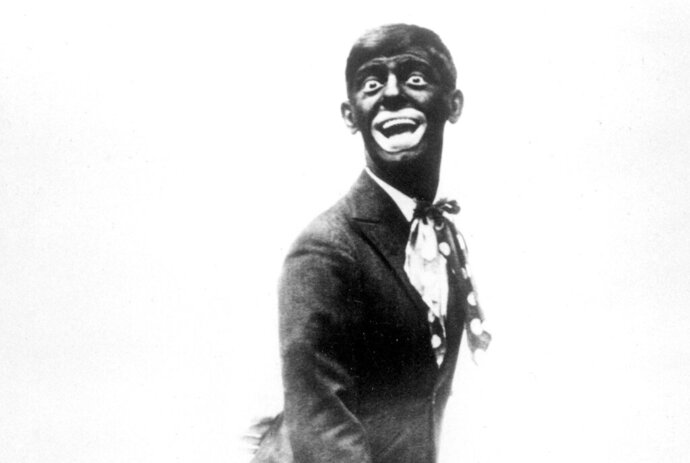 FILE - This 1920s image shows comedian Eddie Cantor wearing blackface while performing