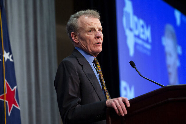 FILE - In this Aug. 16, 2018, file photo, Illinois House Speaker Michael Madigan, D-Chicago, speaks in Springfield, Ill. Madigan said Wednesday, Jan. 8, 2020, that he had no knowledge of an alleged unreported rape that was referenced in an email written in 2012 by one of his close friends, a powerful lobbyist, and sent to the office of former Gov. Pat Quinn. (Rich Saal/The State Journal-Register via AP, File)