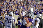 Kansas State quarterback Skylar Thompson (10) celebrates in the end zone after scoring a touchdown during the second half of an NCAA college football game against TCU Saturday, Oct. 19, 2019, in Manhattan, Kan. Kansas State won 24-17. (AP Photo/Charlie Riedel)