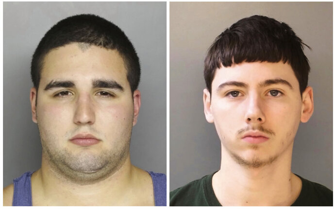 FILE - This combination of file photos provided by the Bucks County District Attorney's Office in Doylestown, Pa., shows Cosmo DiNardo, left, and his cousin shows Sean Kratz. DiNardo has pleaded guilty to murder charges in the gruesome killings of four young men whose bodies were found buried on a suburban Philadelphia. DiNardo faces life in prison under the terms of the deal reached Wednesday, May 16, 2018. His cousin, Kratz, is expected to plead guilty to charges related to his involvement in the deaths of the men, ages 19-22, last July. (Bucks County District Attorney's Office via AP, File)
