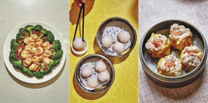 """This combination photo shows recipes for walnut shrimp, from left, har gow shrimp dumplings and siu mai dumplings, featured in """"The Nom Wah Cookbook: Recipes and Stories from 100 Years at New York City's Iconic Dim Sum Restaurant,"""" by Wilson Tang. (Alex Lau/Ecco via AP)"""