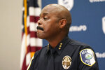 Redmond Police Chief Darrell Lowe listens to a question at a news conference, Wednesday, July 14, 2021, in Redmond, Wash., about the earlier arrest of former Seattle Seahawks and San Francisco 49ers football star Richard Sherman. Sherman was arrested after authorities said he tried to force his way into a family member's home in suburban Seattle and fought with officers. Online records say Sherman was booked into a jail early Wednesday on suspicion of so-called burglary domestic violence. (AP Photo/Elaine Thompson)