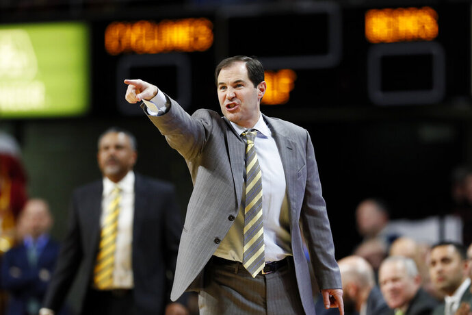 Baylor coach Scott Drew gestures during the first half of the team's NCAA college basketball game against Iowa State, Wednesday, Jan. 29, 2020, in Ames, Iowa. (AP Photo/Charlie Neibergall)