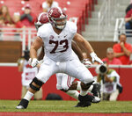 FILE - In this Oct. 6, 2018, file photo, Alabama offensive lineman Jonah Williams sets up to block against Arkansas in the second half of an NCAA college football game, in Fayetteville, Ark. Williams is a possible in the 2019 NFL Draft. (AP Photo/Michael Woods, File)