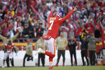 Kansas City Chiefs kicker Harrison Butker (7) celebrates his winning field goal against the Minnesota Vikings during the second half of an NFL football game in Kansas City, Mo., Sunday, Nov. 3, 2019. (AP Photo/Reed Hoffmann)
