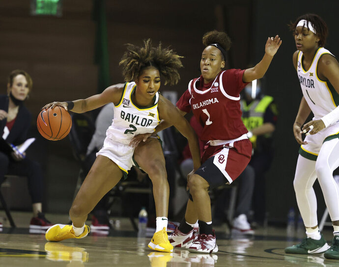 Baylor guard DiDi Richards, left, is guarded by Oklahoma guard Navaeh Tot, right, in the first half of an NCAA college basketball game, Saturday, Jan. 23, 2021, in Waco, Texas. (Rod Aydelotte/Waco Tribune-Herald via AP)