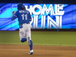 'Toronto Blue Jays' Bo Bichette runs the bases on a two-run home run against the New York Yankees during the fifth inning of a baseball game Thursday, Aug. 8, 2019, in Toronto. (Fred Thornhill/The Canadian Press via AP)
