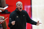 Colorado head coach Tad Boyle shouts to his team in the first half during an NCAA college basketball game against Utah, Monday, Jan. 11, 2021, in Salt Lake City. (AP Photo/Rick Bowmer)